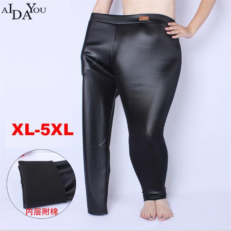 b8bd21a8d7 2019 Winter Women Fake Leather Thick High Waist Elastic Skinny Fleece  Leggings Warm Pants Winter Trousers Female Big Size 5xl Ouc1243 From  Maoyili, ...