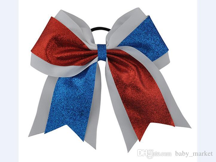 """hot 7"""" Big Sequin Cheer Bows With Elastic Band Hand Made Bling Girl's Cheerleading Hair Bow Hair Accessories For Long Hair"""