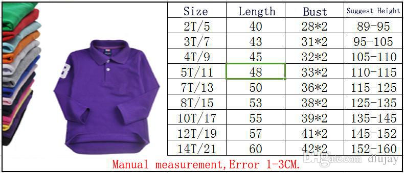 New Kids Lapel T-shirt Classic Children Brand T shirts Boys Clothing Girls Tops Cotton Tees Solid Color Boys Polo Long sleeves t Shirt 0001