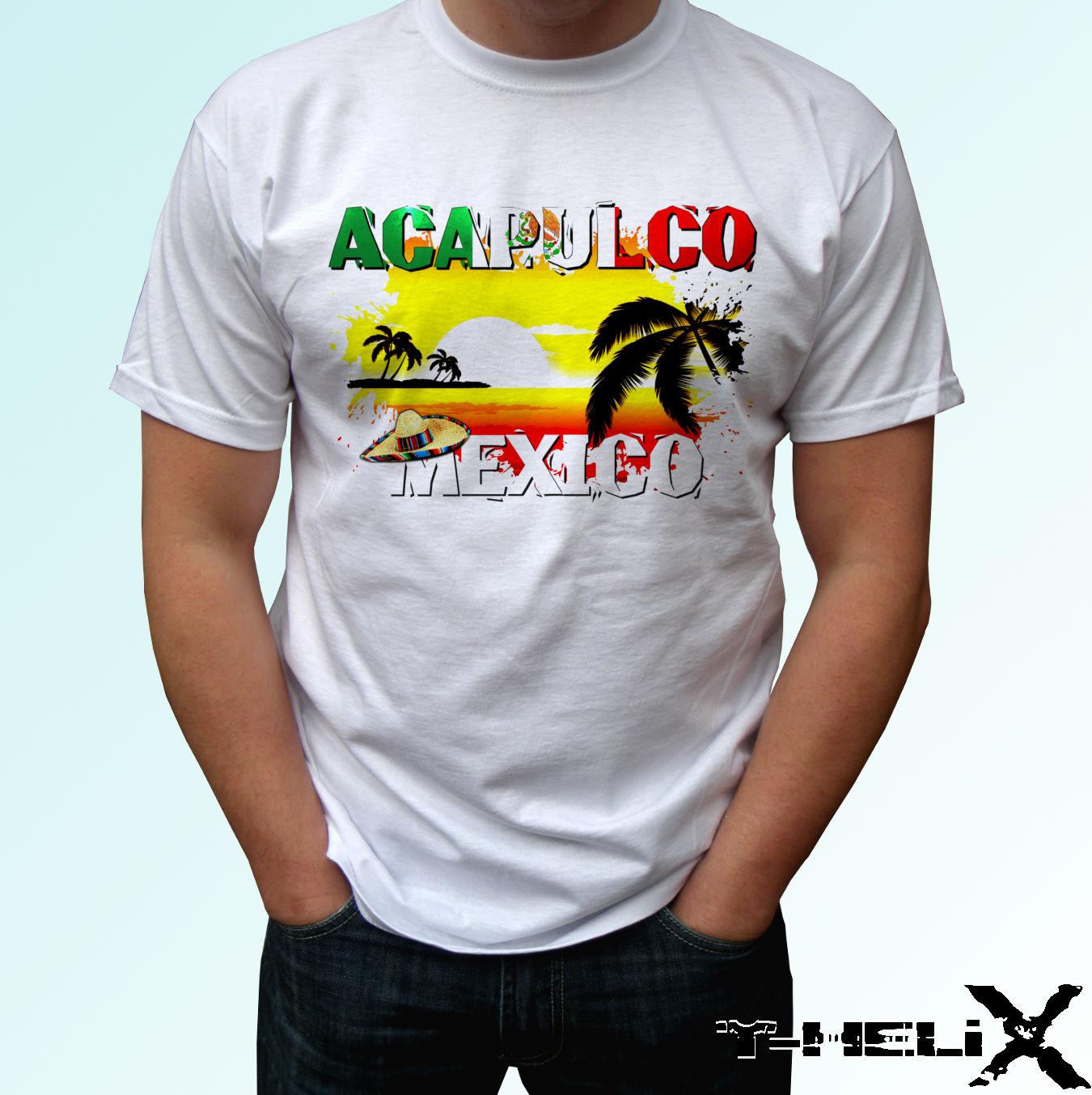 deccf94fb Compre Bandera De Acapulco Camiseta Blanca Top Diseño De México Hombres  Para Mujer Niños Tamaños De Bebés Ool Casual Pride Camiseta Hombres Unisex  A  10.66 ...