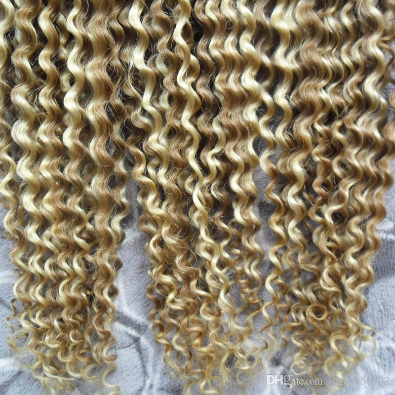 Human Nail I Tip Hair Extensions 300g color 18/613 Kinky Curly Machine Made Remy Hair Pre Bonded Keratin Capsules Hair 1g/Strand