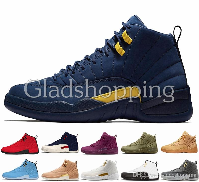 4a3e98fa271 12 Michigan College Navy Bulls UNC Flu Game The Master Taxi Gym Red French  Blue PSNY Olive Wheat 12s Mens Basketball Shoes Sneakers 12 Michigan  Basketball ...