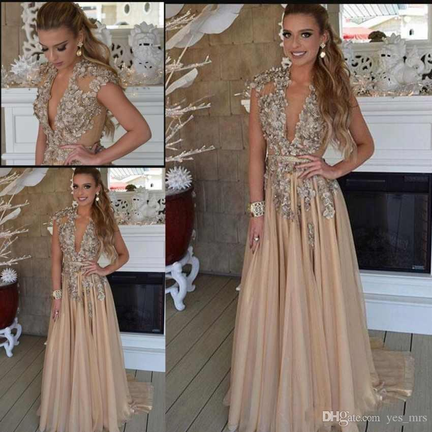 c7d75e7fd3272 Prom Dresses 2019 Sexy Deep V Neck Gold 3D Floral Flowers Crystal Beads Cap  Sleeves Chiffon Plus Size Custom Party Dress Evening Gowns Maxi Prom Dress  ...