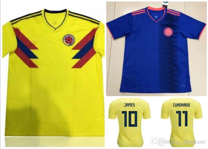 Compre 2018 Copa Do Mundo Colômbia Futebol Camisa Colômbia Casa Camisa De  Futebol Amarelo 2018 Copa Do Mundo   10 JAMES Thai Futebol Uniforme  Afastado Azul ... f0b5e486364ff