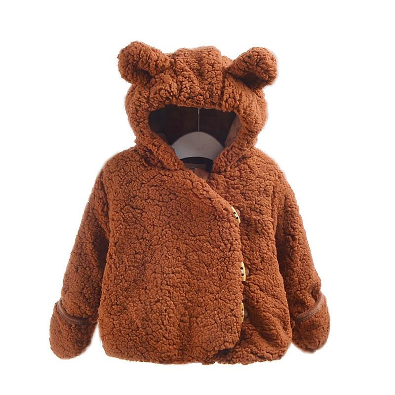 41718c5b9 Cute Baby Coat Thick Solid Hooded Warm Overcoat For 1 3years Babies ...