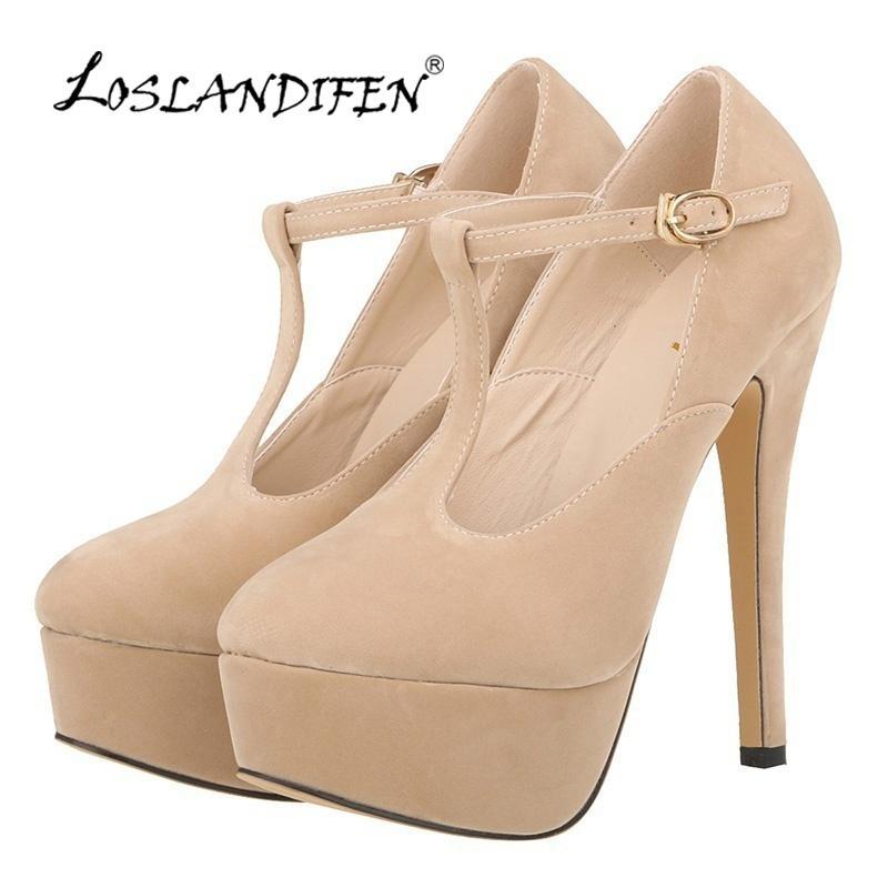 b43322e4fb97 LOSLANDIFEN New Fashion Women PUMPS T Shaped Belt Buckle Sexy Sandals Party  High Heel Shoes Platform Pumps Wedding Shoes 817 20VE Bridal Shoes Cheap  Shoes ...
