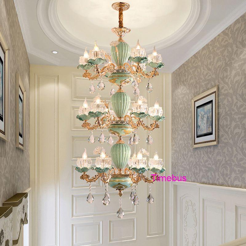 European Luxury Crystal Chandelier LivingRoom Bedroom Chinese Ceramic  Chandelier Pendant Light Hotel Hall Stair Painted Ceramic