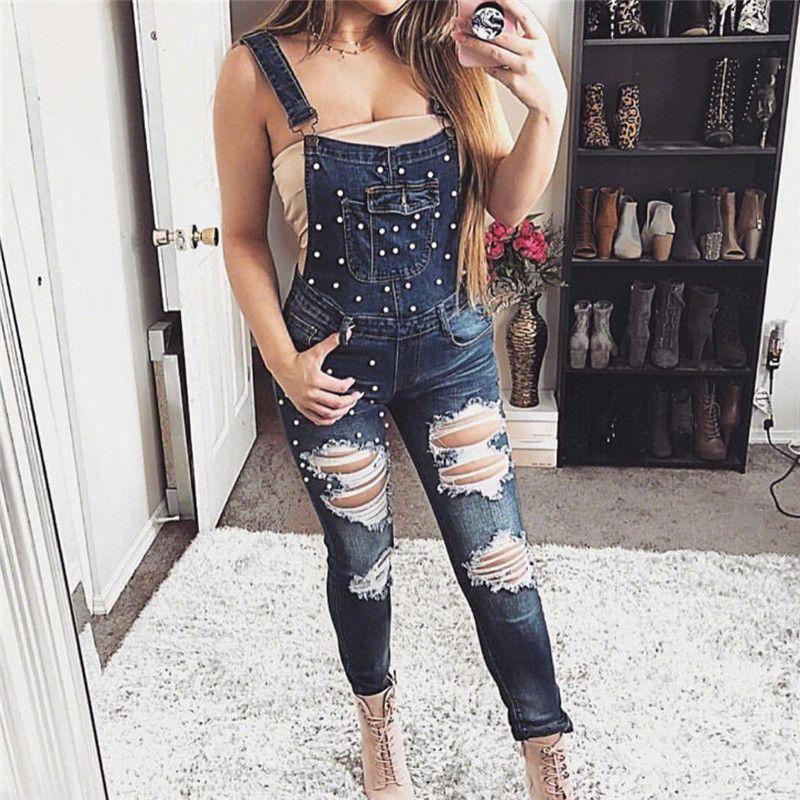 e32efa30d4f9 2019 Trendy Casual Women Clothes Strap Pocket Bodycon Jumpsuit Hole Button  Geometry Slim Denim Jeans One Pieces From Regine