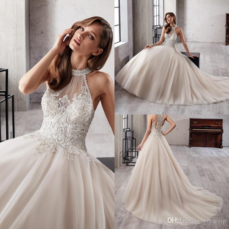 9c7b36ee8 Discount 2019 Eddy K Halter Wedding Dresses A Line Ivory Sleeveless Beaded  Applique Lace Sheer Neck Train Bridal Gowns Plus Size Robe De Mariée  Coloured ...
