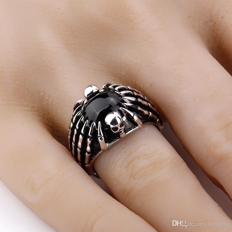 2018 Fashion Real 925 Sterling Silver Men Ring Black Agate Stone with Skull & Spider Picture Men Finger Ring