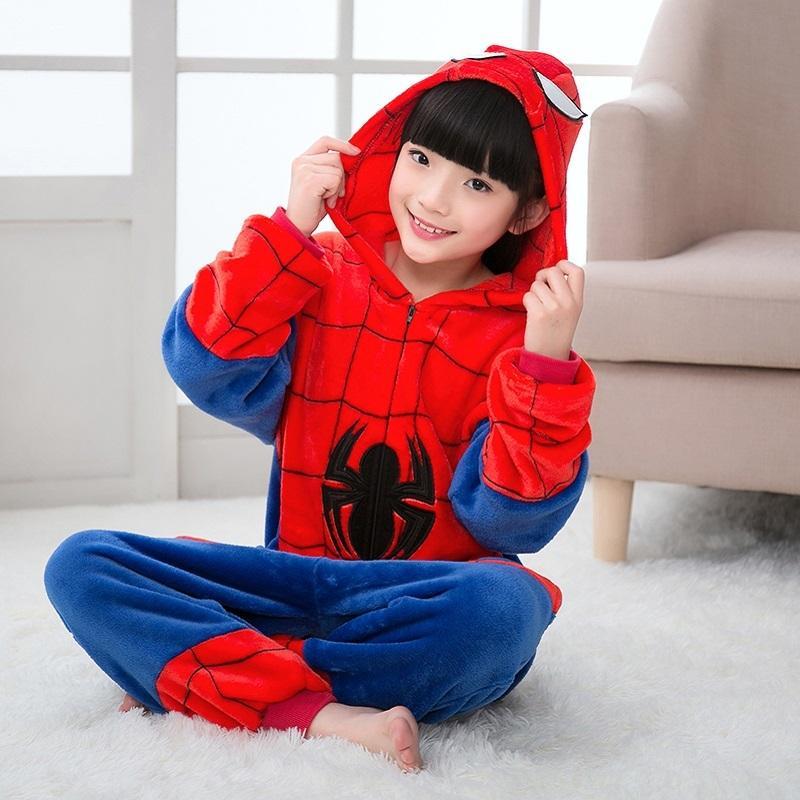 87a452af29ca Children Christmas Pajamas Winter Girls Boy Kigurumi Hooded Cartoon  Sleepwear Onesie Spiderman Kids Pajama For 4 6 8 10 12 Years Y18102908 Kids  Cotton ...
