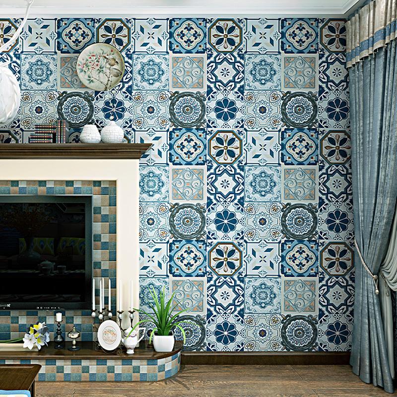 Imitation Tile Wallpaper For Kitchen Wall Mediterranean Southeast Asian  Style Living Room Bedroom Tv Background Wallpaper 3d Free High Resolution  Wallpaper ...