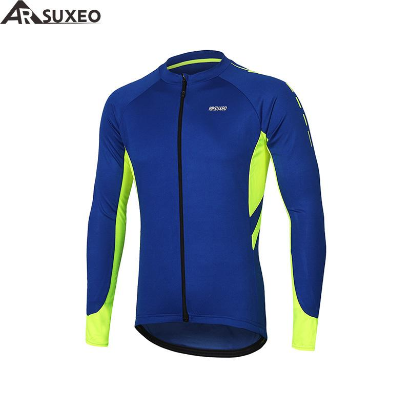af3518ba5 ARSUXEO Men S Full Zipper Cycling Jersey Bicycle Bike Shirt Long Sleeves  MTB Mountain Bike Jerseys Clothing Wear 6030 Bicycle T Shirts From  Pretty05