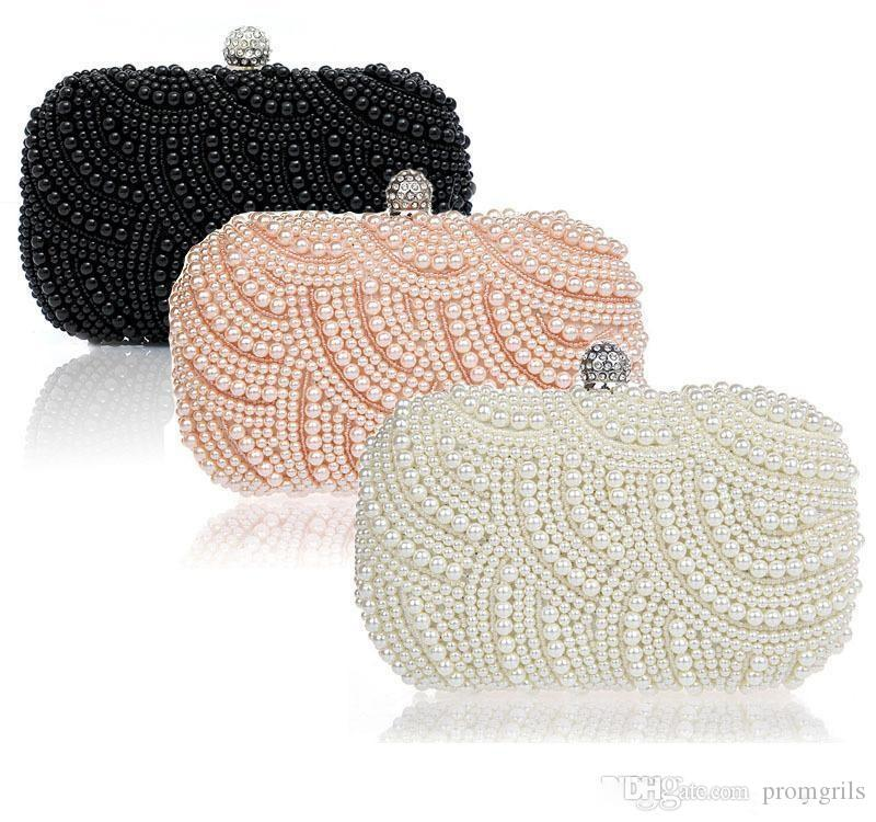 2018 Sparkly Hot Cheap Crystal Pearls Fashion Bridal HandBags with Chain Women Wedding Evening Prom Party Clutches Bridesmaids Bags