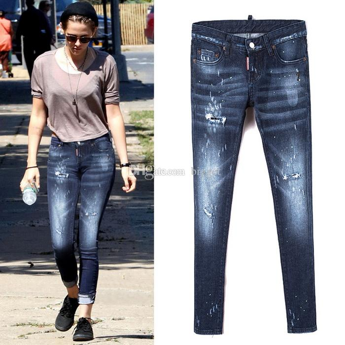 Sexy Low Waist Jeans Women Pencil Distressed Bleach Denim Trousers Ladies Ripped Painted Dot Slim Fit Cowboy Pants Girls
