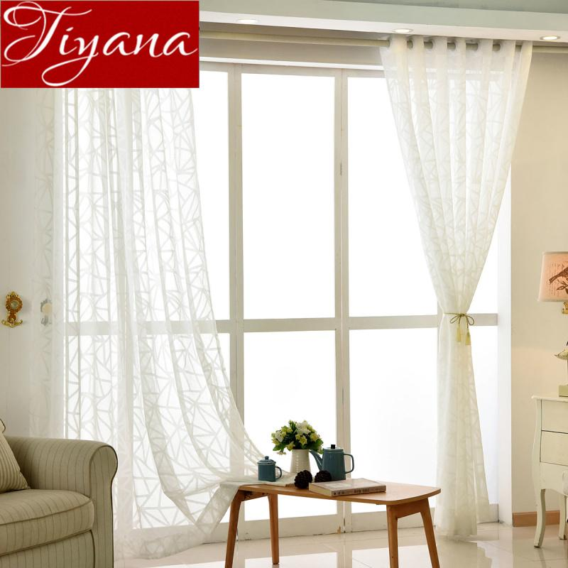 2019 White Curtain For Window Bedroom Sheer Voile Fabrics Stripe ...