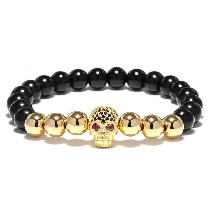 Black Natural Stone Metal Beads Bracelet Mens Cool Biker Braclet For Men Hand Luxury Skull Head Jewelry Aaccessories Wholesale