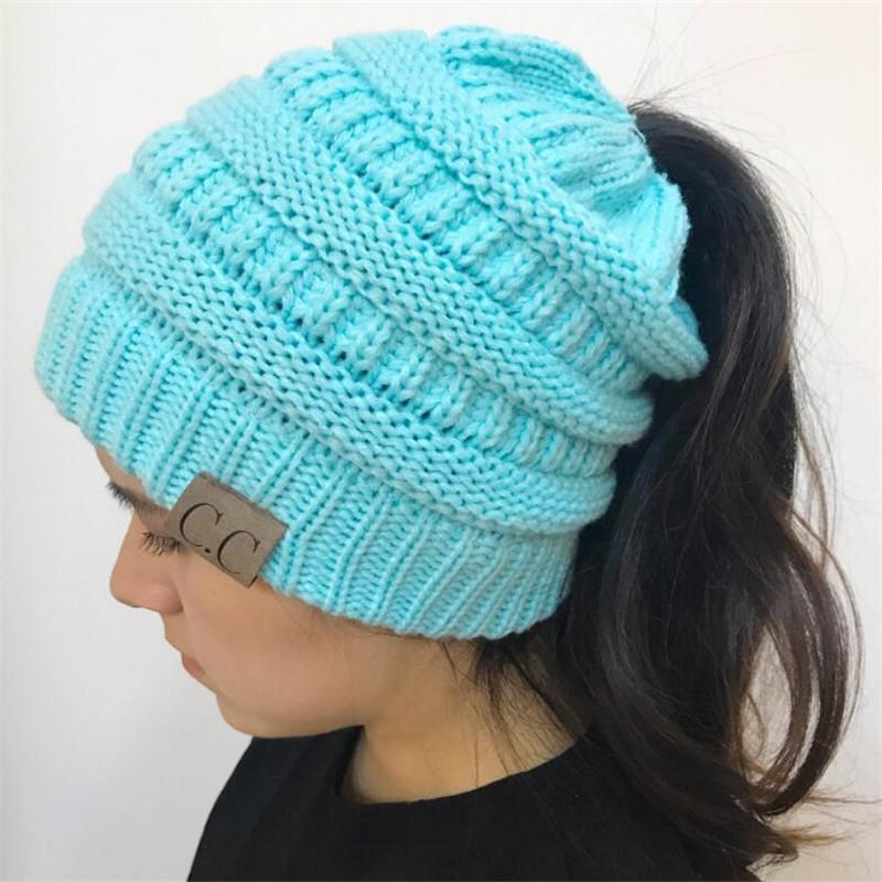 916dbf6a4fd 2018 Fashion Women  S Girl Stretch Knit Hat Messy Bun Ponytail ...