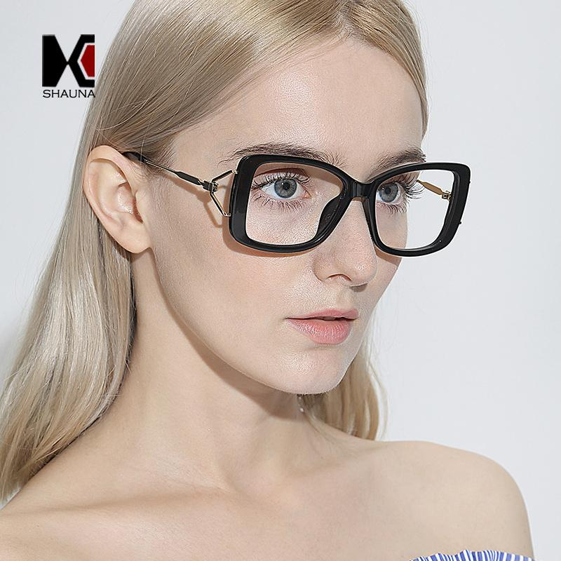 852509707d4 2019 SHAUNA Summer Styles Fashion Women Square Eyeglasses Frame Metal  Temple Oversize Reading Glasses UV400 From Melontwo