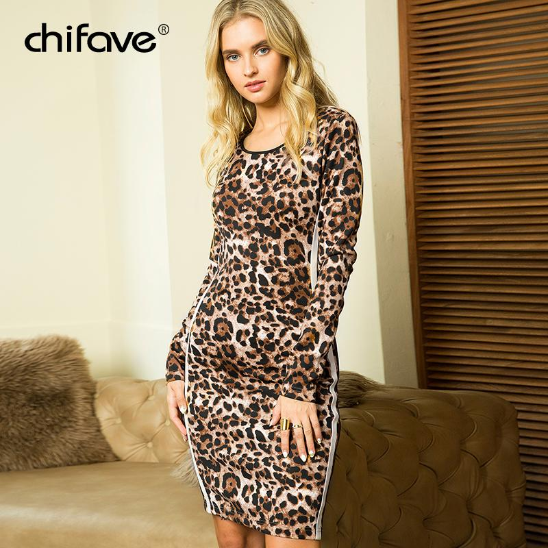 64aeb1f3d8f8 2019 Sexy Leopard Print Dress Women Bodycon Slim Long Sleeve Dress Spring  Autumn Plus Size Fashion Patchwork Mini Dresses Chifave From Houmian, ...