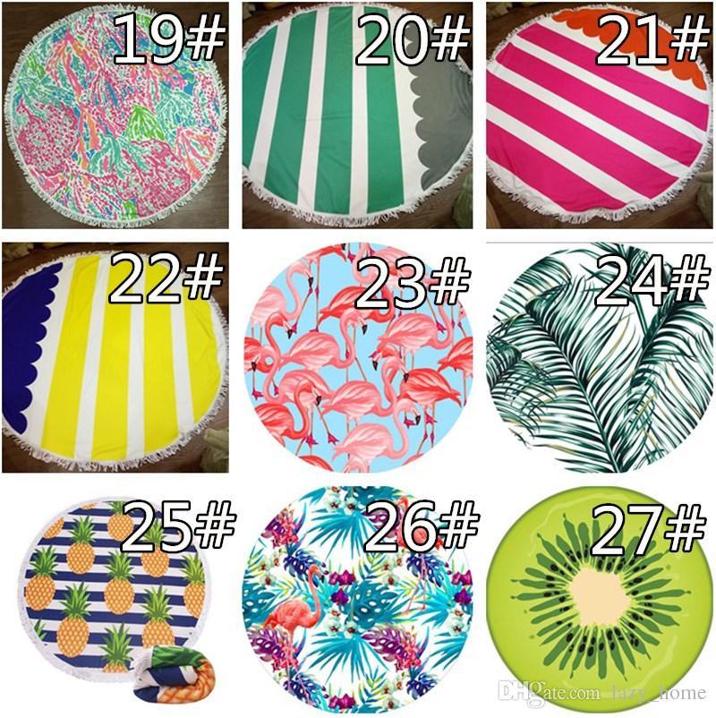 Round Beach Towel 150cm Tassels Microfiber Large Reactive Printing Beach Towels Serviette De Plage Adulte Bath Towel 40 Designs
