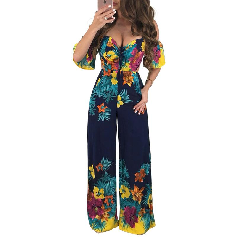 0fd5696a24ef 2019 Women Summer Jumpsuits 2018 One Piece Floral Print Sexy Off The  Shoulder Backless Wide Leg Pants Romper Long Playsuits Overalls From  Wangleme011