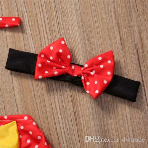 الأحمر منقط المطبوعة القوس الكبير شنقا الرقبة قمم + أسود أصفر القوس التعادل المايوه بحر للطفل جيرز مع الأزهار المطبوعة عقال