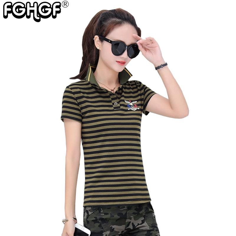 New Women Cotton Shirt 2018 Summer Style Army Green Striped Short ... 11557e313c53
