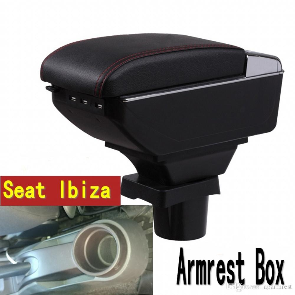 For Seat ibiza armrest box central Store content Storage box Seat armrest box with cup holder ashtray USB interface