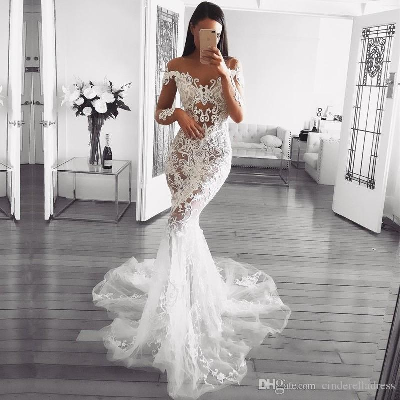 acf61be0e44 Dubai Arabic Luxury Sparkly 2018 Mermaid Wedding Dresses Sexy Bling Beaded  Lace Applique High Neck Illusion Long Sleeves Chapel Bridal Gowns Discount  ...