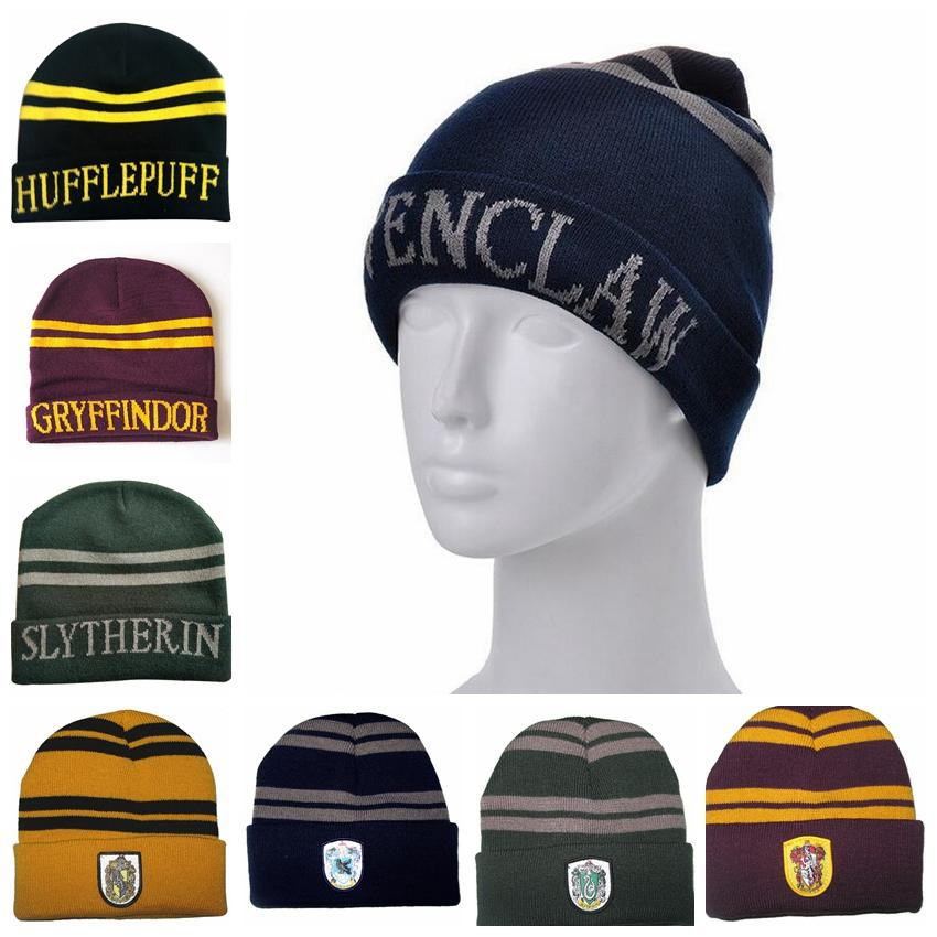 88e7d3cceddf8 Harry Potter Knit Hat Winter Knitted Cap Cosplay Costume Halloween Gift  Slytherin Gryffindor Ravenclaw Hufflepuff Party Hats GGA961 Adult Birthday  Hats ...