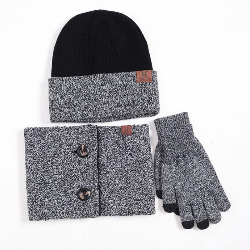 New Design Knitted Winter Hat Scarf Gloves Set Men Thick Cotton ... 799f7f17b82