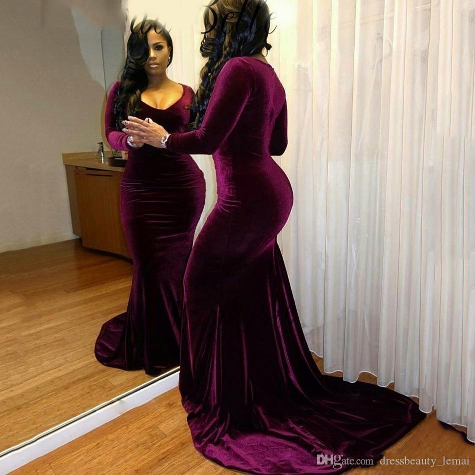5b0a7a4fe5c1 Sexy Plus Size Velvet Evening Dresses 2018 for Black Girls Long Sleeves  Mermaid Sexy V-neck Formal Party Dress Court Train Long Prom Gowns Sexy  Evening ...
