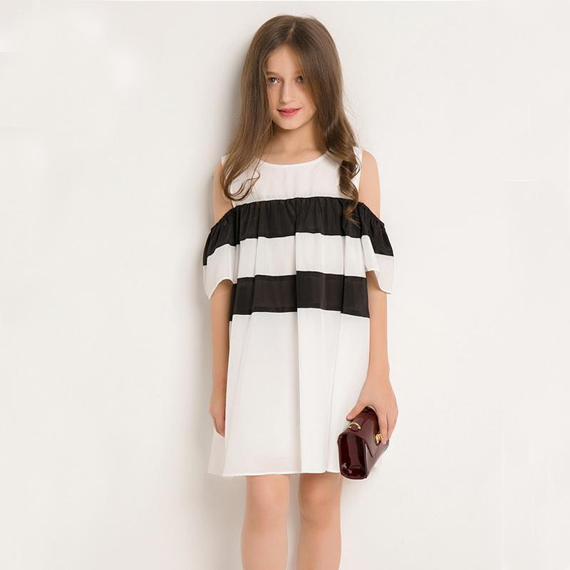 new arrival 49ce4 4a946 Teen Mädchen Strapless Kleid für Kinder Prinzessin Kleider Kinder Sommer  Teen Kleid Schwarz Weiß Colorblock Vestidos Age10 11 12 13