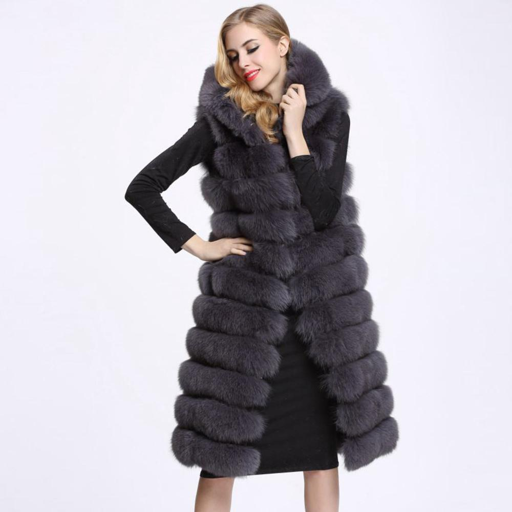 604c0c65e32 2019 Winter Woman Long Faux Fur Vest High Quality 11 Lines Hooded Female Fur  Clothing Warm Outwear From Yabsera