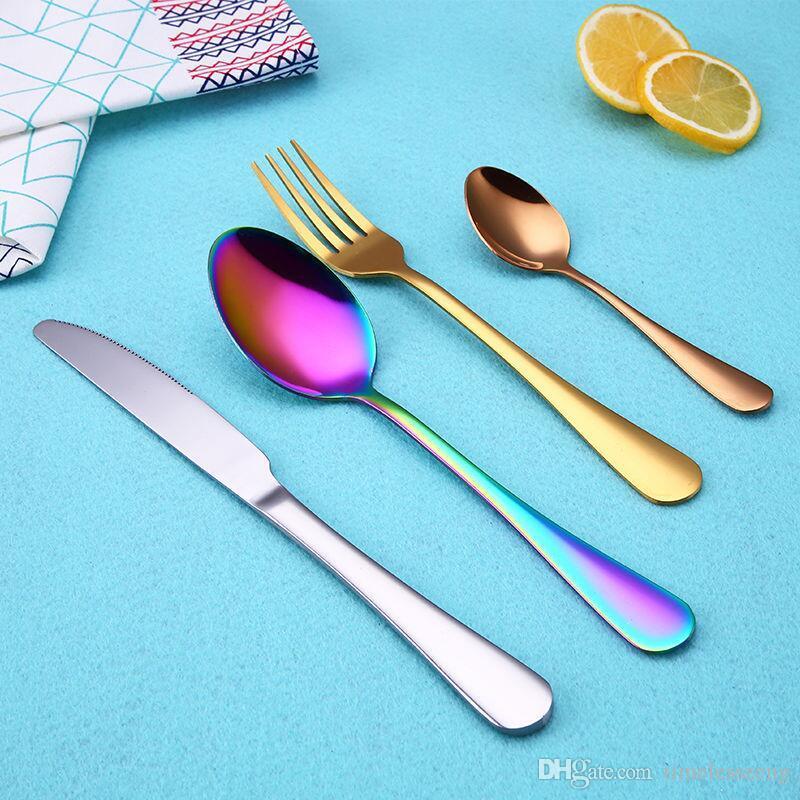 4 pezzi / set set di posate in acciaio inox i set di stoviglie cucchiaio occidentale forchetta cucchiaino cucchiaino da pranzo elegante set di posate
