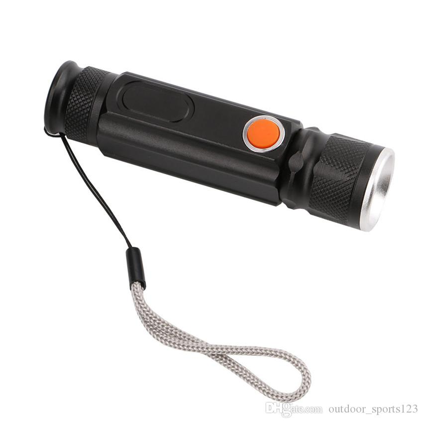 USB Handy Güçlü COB LED Zumlanabilir El Feneri Şarj Edilebilir Torch USB Mıknatıs Flaş Işığı Cep Kamp Lamba Dahili 18650
