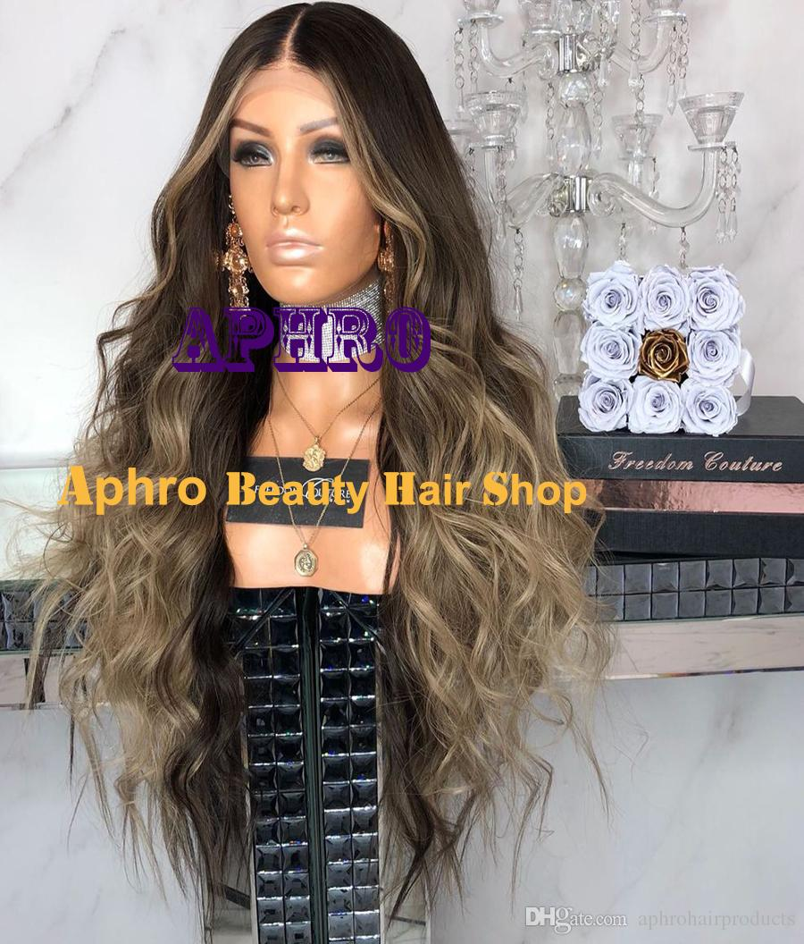 Luxury Ombre Brown to Blonde Silk Top With Highlights Full Lace Wigs European Orignal Human Hair 130% 150% Density Lace Front Silk Top Wigs