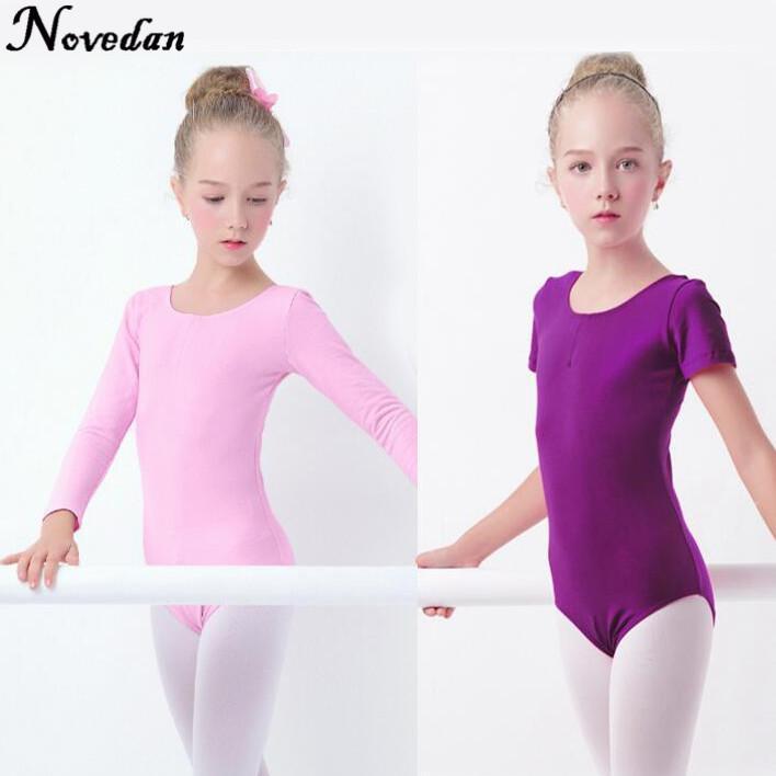 ba28153eaa21 2019 Girls Ballet Leotard Dance Clothes Short   Long Sleeve Dance ...