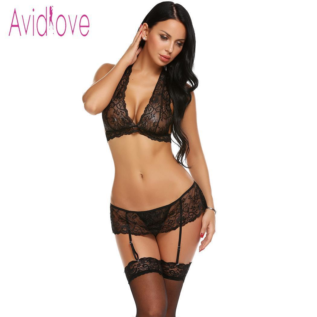 Avidlove Women Lingerie Sexy Babydoll Underwear Costumes Halter Floral Lace  Bra G-String Set with Garter Belt Lenceria Femenina S18101509 Online with  ... a6ebba106