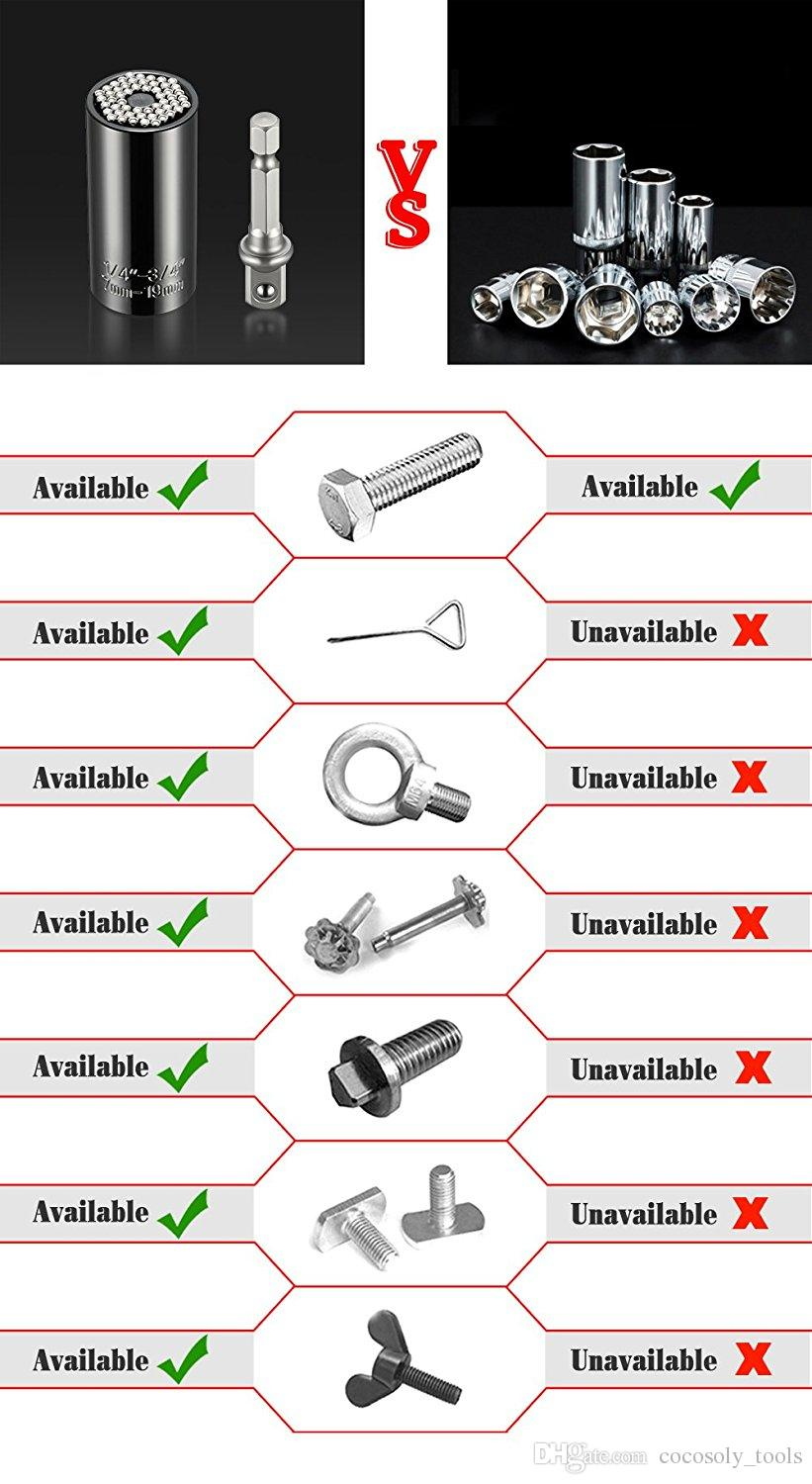 Universal Sockets,7mm-19mm Universal Sockets Metric Ratchet Wrench Sets with Power Drill Adapter Professional Repair Tools