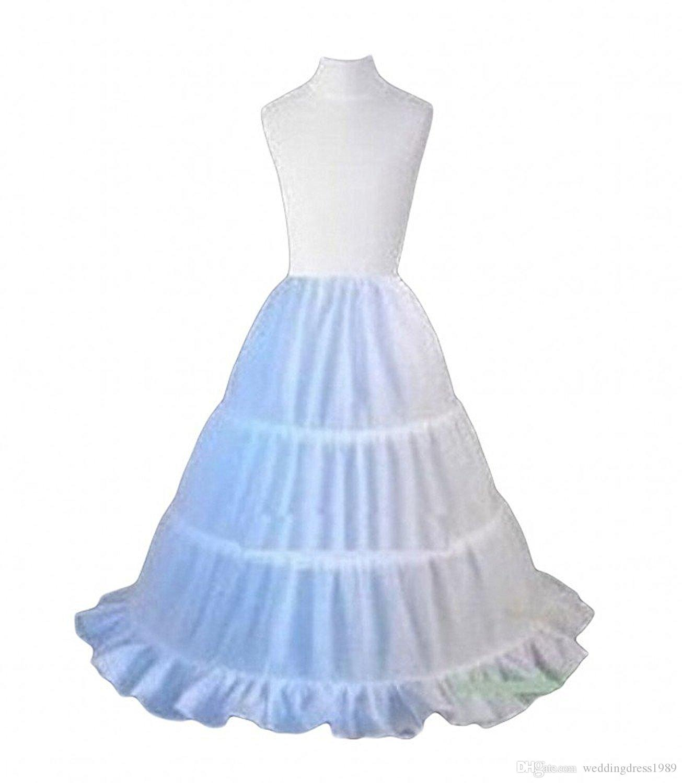 Stock Blanc 3 Cerceau Petticoat Jupe Fille De Fleur Avec Ruffle Edge Danse Partie Outwear Slip Tutu Crinoline Jupon