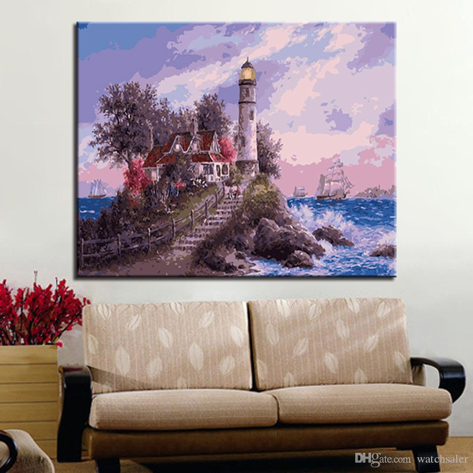 DIY Painting By Numbers Cottage Lighthouse Seascape Drawing Unique Gift Acrylic Hand Paint Oil Pictures On Canvas Wall Art Decor