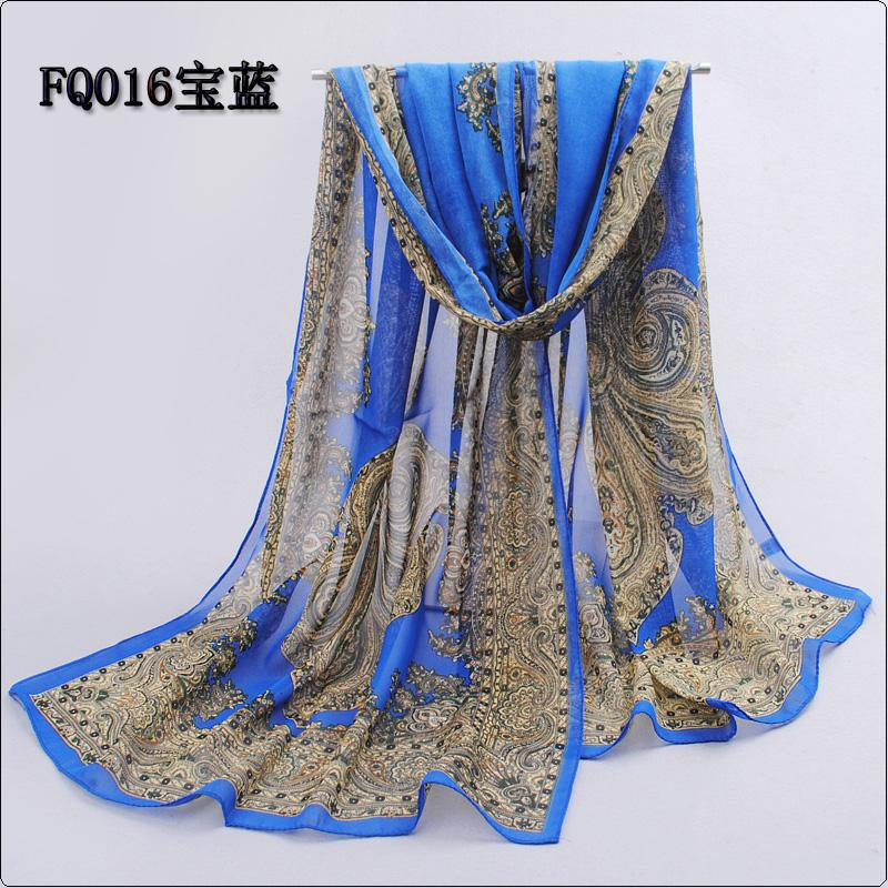 fashion pashmina women scarf 2018 new design floral shawl cape silk chiffon polyester tippet muffler hot sale Scarves