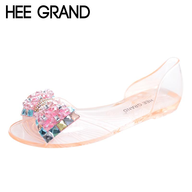 4482ed11d HEE GRAND Women Sandals Summer Style Bling Bowtie Peep Toe Jelly Shoes  Woman Crystal Flats Ladies Size 35 40 XWZ3283 Summer Shoes Purple Shoes  From Wearbag