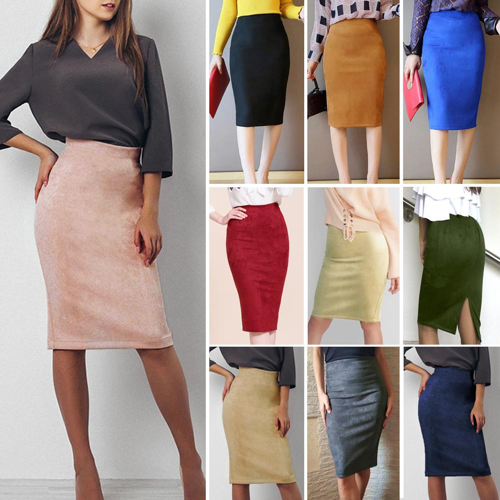 b260d4028 Sexy Women's Suede Pencil Skirt Solid Color High Waist Woman Skirts Split  Zip Faux Leather Bodycon Midi Skirts Womens Jupe Femme