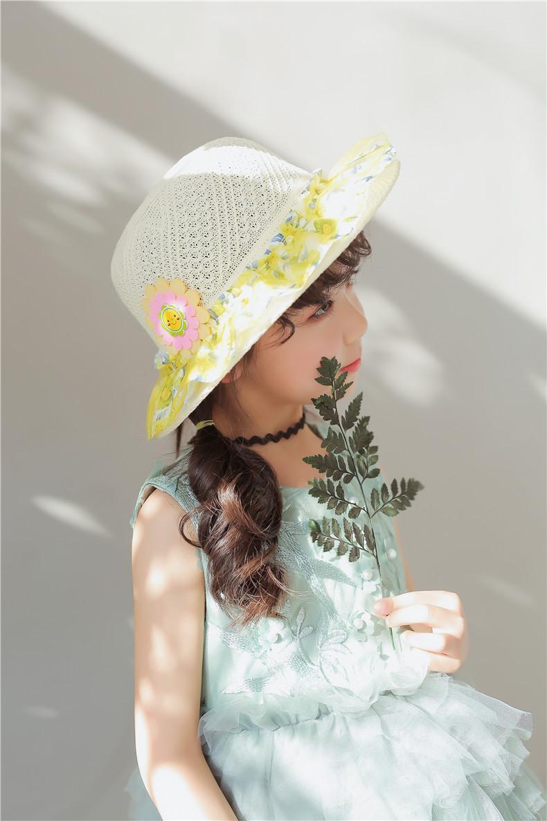 Yaz Plaj Havuzları Visor Şapkalar Çocuklar Kızlar Için Bebek Dantel Brim Snaback Şapka Kap Çocuk Prenses Saman Havzası Güneş Caps 40 Stilleri WX9-615