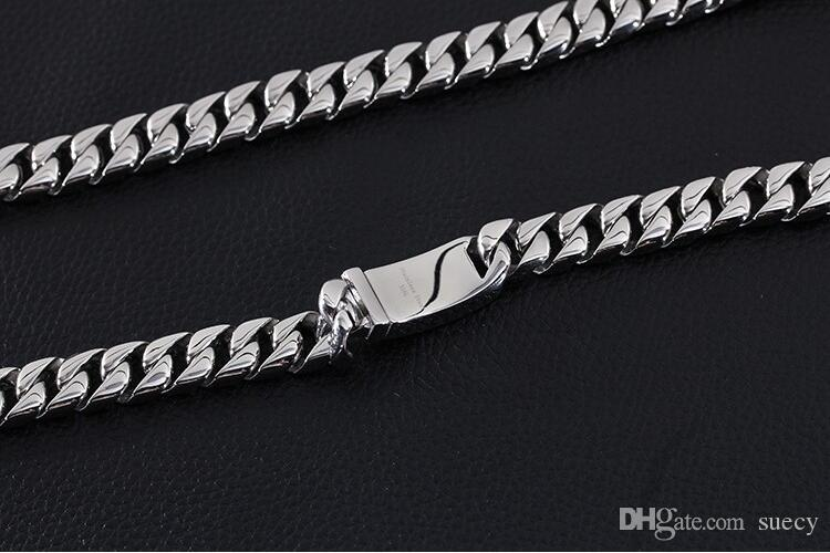 "24"" 11mm Huge Heavy Polished Jewelry 316L Stainless Steel Silver Curb Cuban Chain Men's Necklace Christmas Gift High Quality"