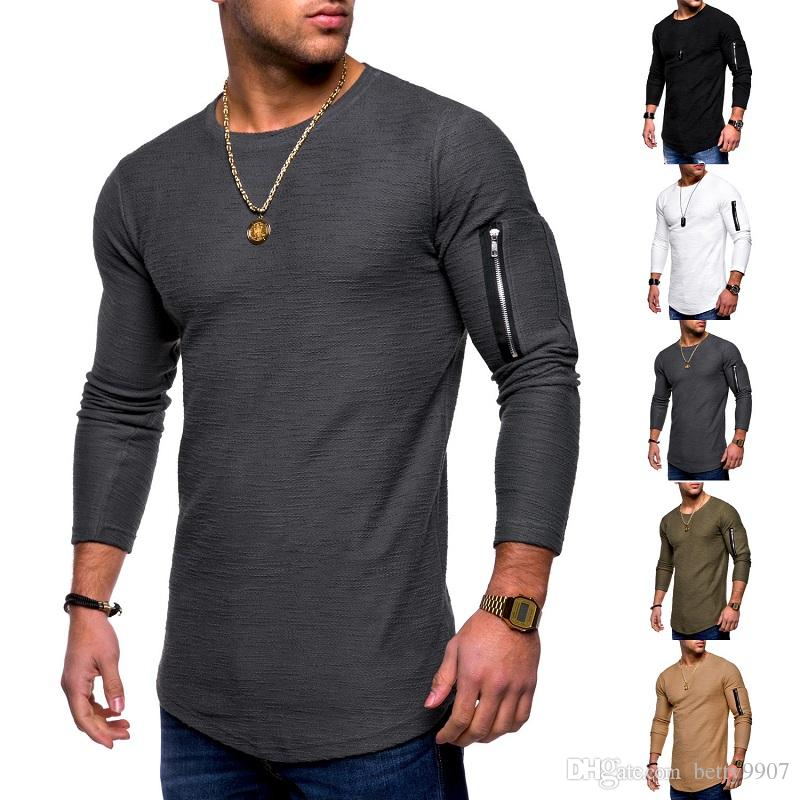 Designer Mens Tshirt Long Sleeve New 2019 Shirt Clothing Camiseta Pocket  Arms Zipper Back School Slim Plus Size Spring Autumn Sportwear Tops Funky T  Shirt ... dd0e2318c