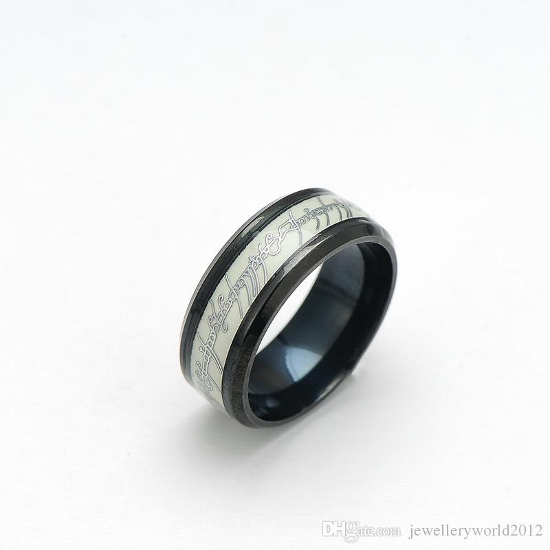 Europe Stainless steel Lord of the rings fluorescence luminous Men's ring mix size 6-13#